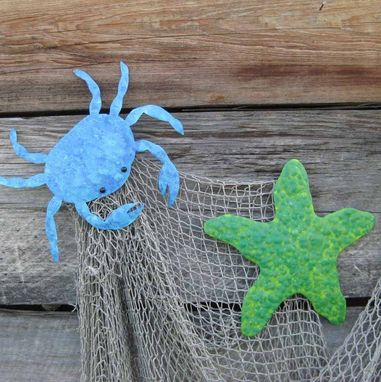 Custom Made Handmade Upcycled Metal Starfish Wall Art Decor In Lime Green