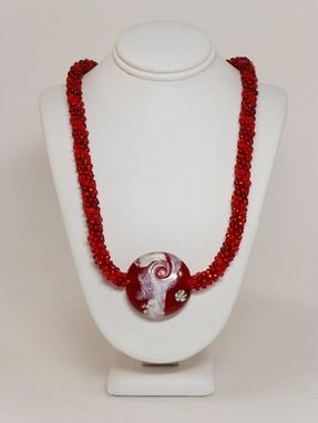 Custom Made Set - Matte And Transparent Dark Red Kumihimo Necklace And Earrings