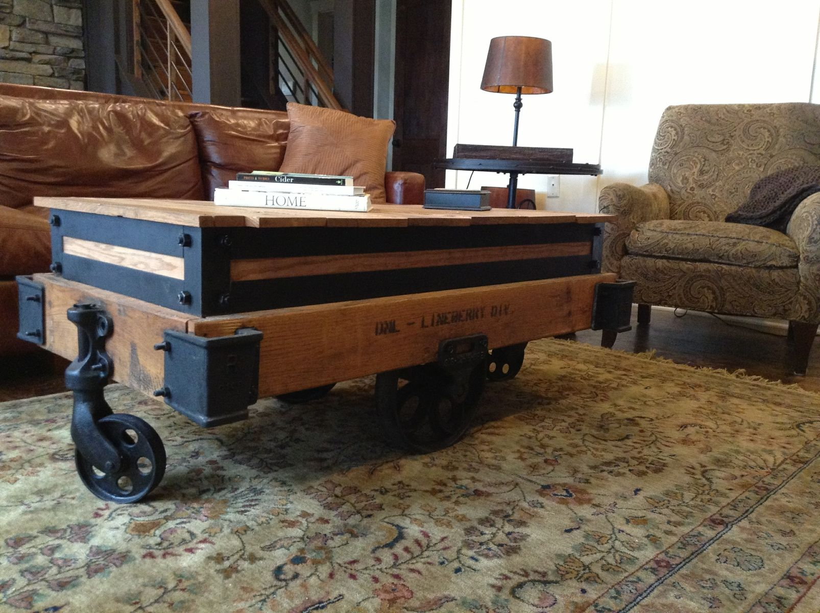 Hand Made Coffee Table Drink Cart Pub Table 3 In 1 by Rustically