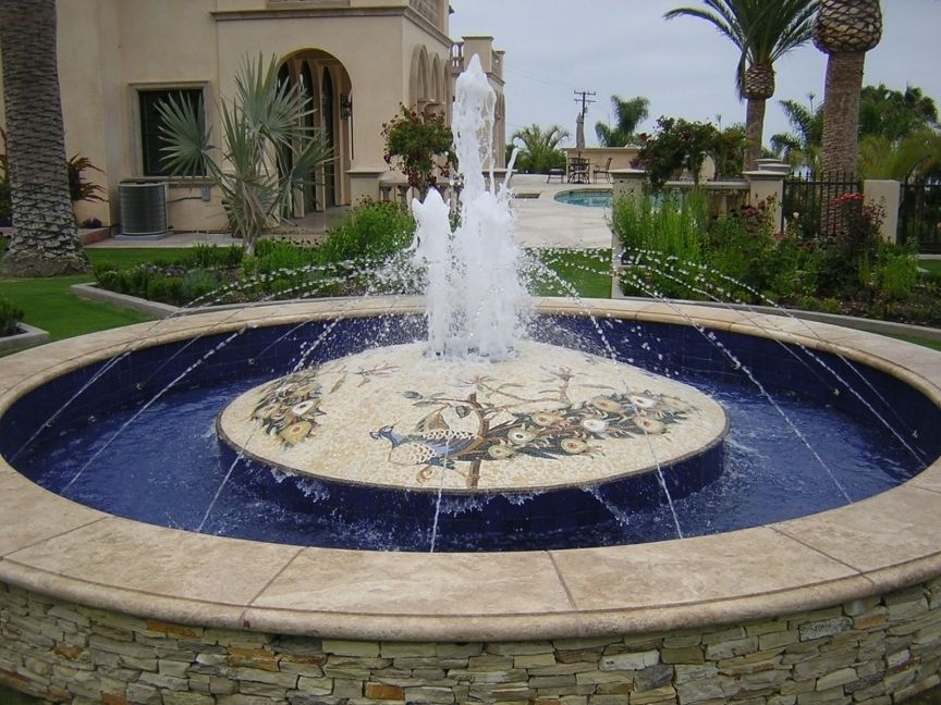 Hand Crafted Stone Mosaic Fountain By Vita Nova Mosaic