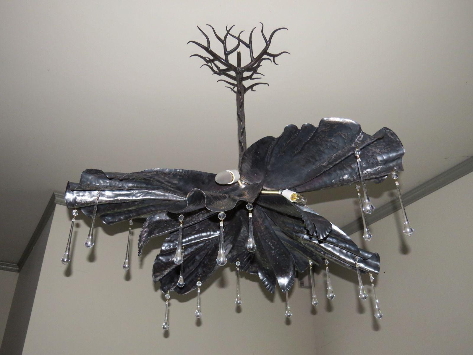 Handmade chandelier forged steel iris form by colin mcintyre custom made chandelier forged steel iris form arubaitofo Gallery