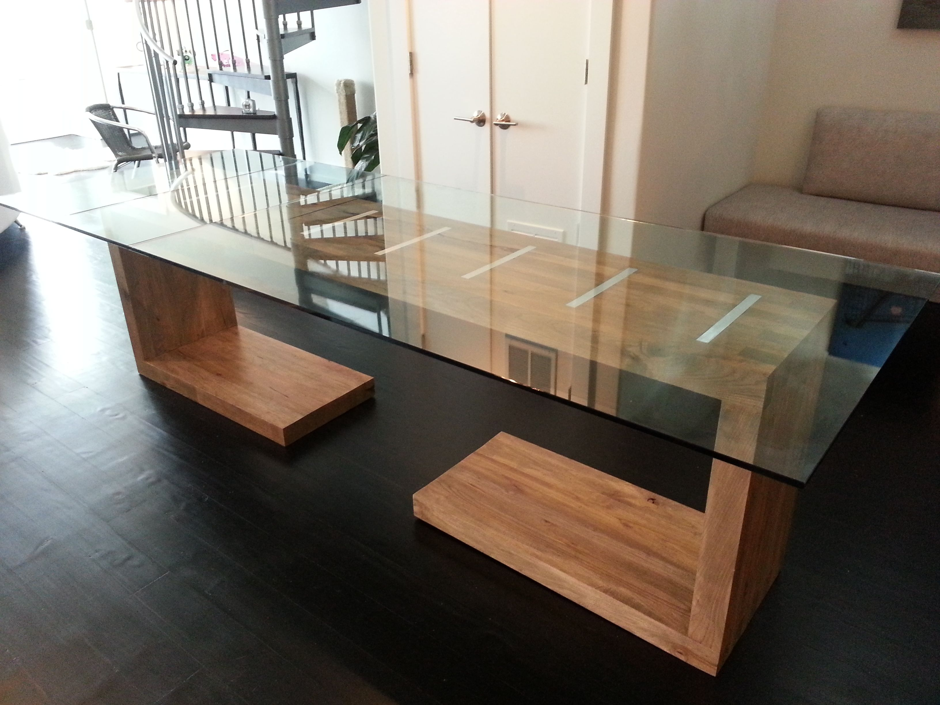 hand crafted glass top dining and side table by ajc woodworking. Black Bedroom Furniture Sets. Home Design Ideas