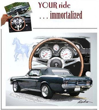 Custom Made Car Art Fine Prints Of Your Car, Mustangs, All Cars And Motorcycles