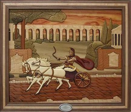 Custom Made Framed Roman Chariot Intarsia