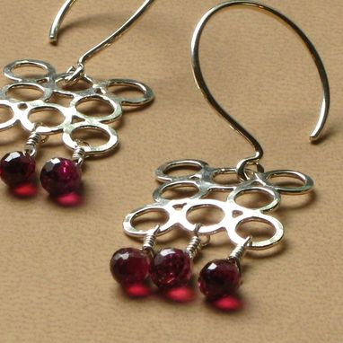 Custom Made Circle Sterling Tantra Earrings Rhodolite Garnet