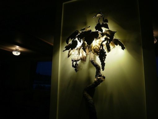 Custom Made Old Growth Grapevine With Bird's Nest Sconce