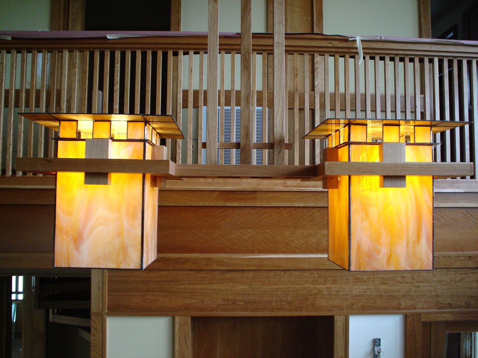 Custom Made Frank Lloyd Wright Inspired Ceiling Light Fixtures By