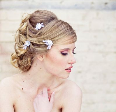 Custom Made Wedding Hair Accessories, Lace Daisy Bobby Pin Set In White,