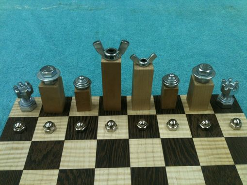 "Custom Made Chess Table With Chessmen: ""A Work In Progress"""