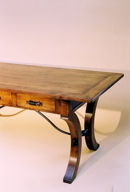 Custom Made Solid Alder Desk With Hand-Forged Iron Stretcher