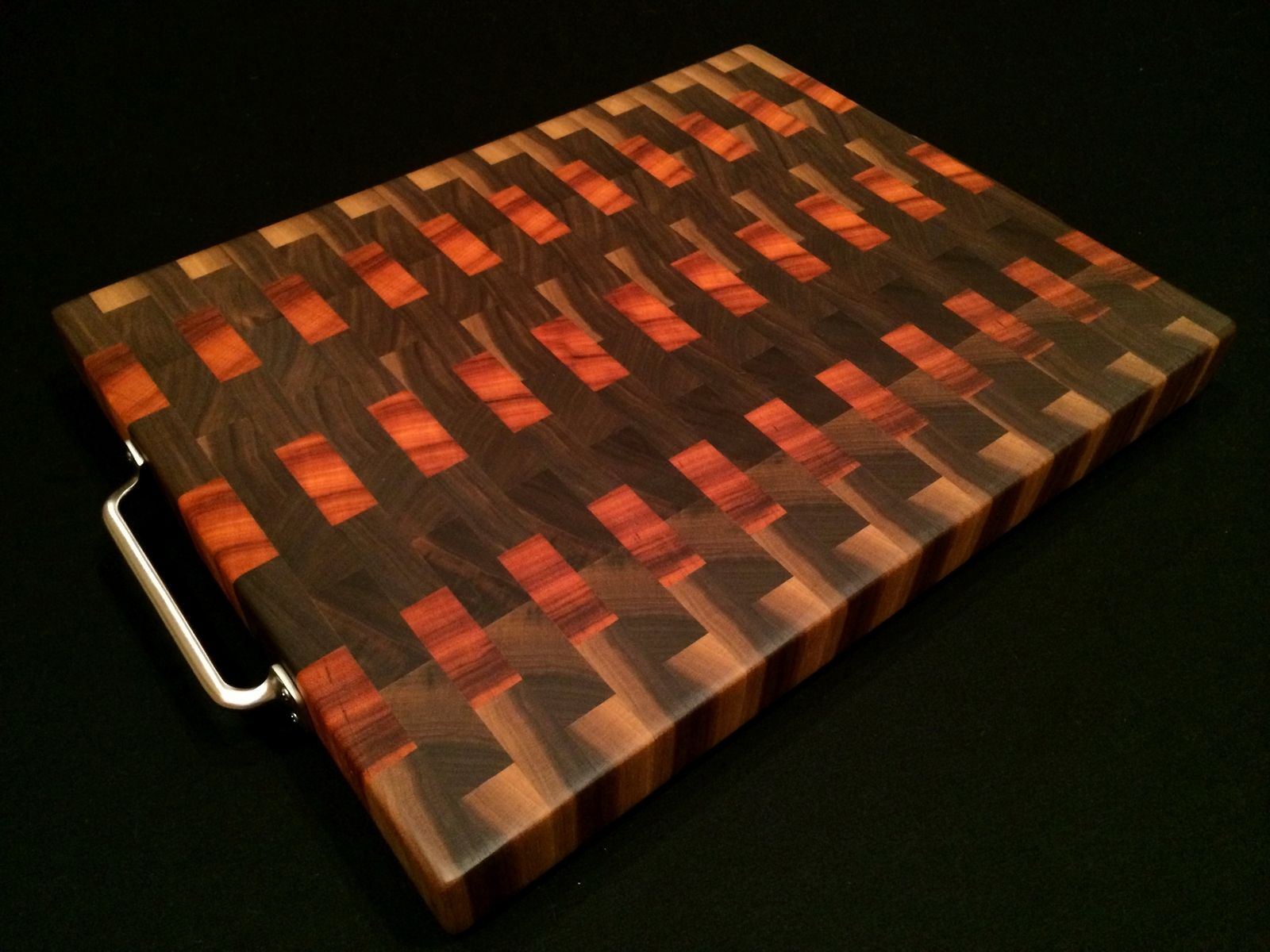 Custom Made Tigerwood Black Walnut End Grain Cutting Board