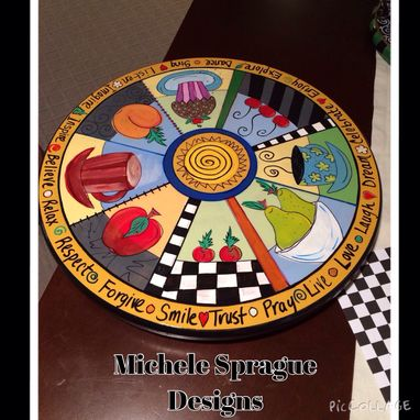 Custom Made Painted Wood Lazy Susan 15-Inch Round