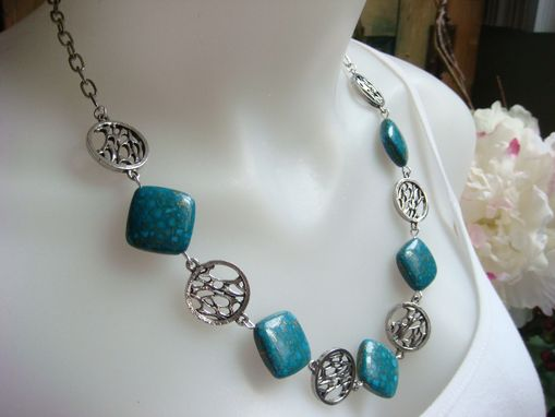 Custom Made Flecks Of Gold Turquoise Necklace