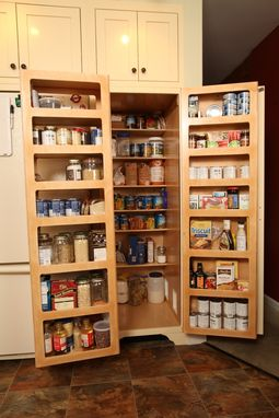 Custom Made Kitchen Pantry -- Double Fold-Out Doors.