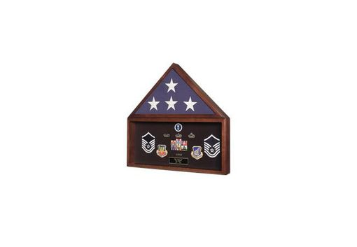 Custom Made Large Military Flag And Medals Display Case In Cherry