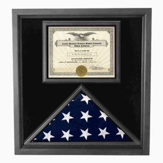 Custom Made Premium Usa-Made Solid Wood Flag And Document Case Black Finish