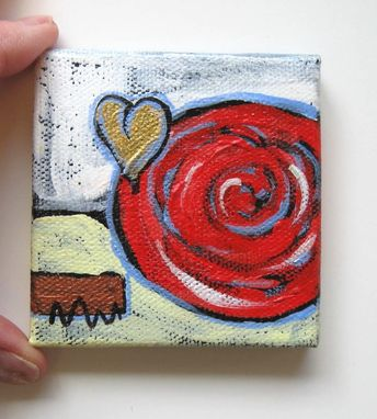 Custom Made Abstract Valentine's Day Heart Painting, Original Acrylic On A Mini Canvas