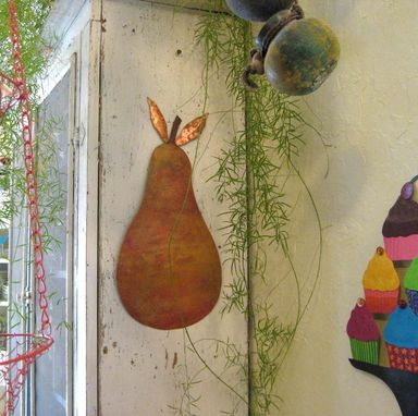 Custom Made Metal Pear Wall Art Sculpture In Yellow Orange Hand Painted