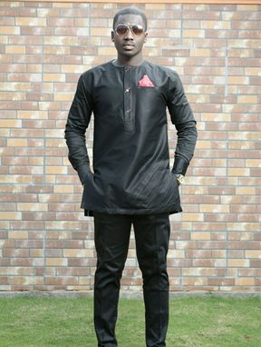 Custom Made Black-Out Men's African Wear,Men's African Wear,Men's Clothing,Pants & Shirt,Men