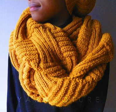 Custom Made The Basketweave Textured Infinity Cowl - In Mustard / Unisex / Fall, Winter, Spring, Summer Fashion