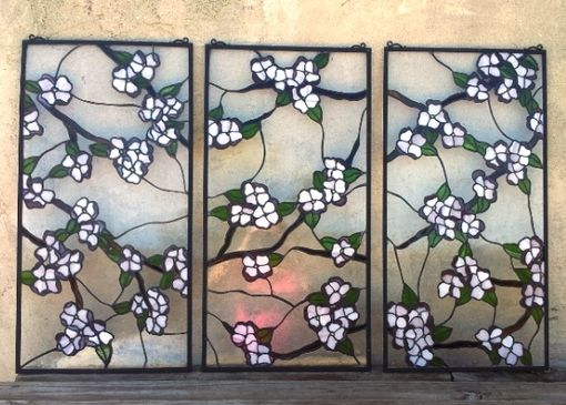 "Custom Made Stained Glass 3 Hanging Panel-Set / ""Dogwood Branches"" (P-23)"