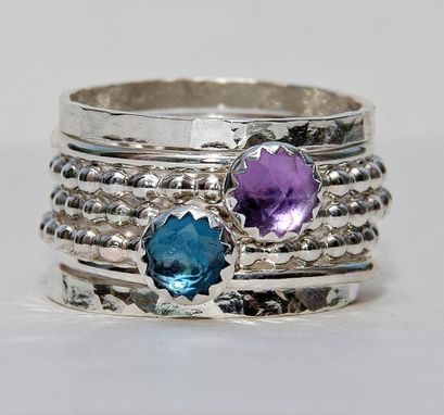 Custom Made Birthstone Rings Set Rose Cut London Blue Topaz Amethyst February Birthstone Ring