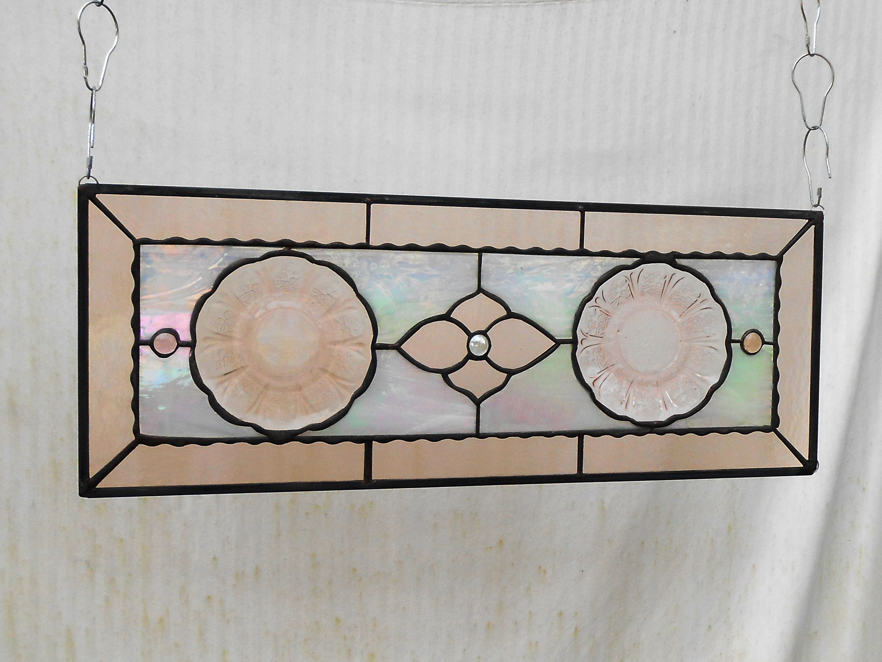 Buy a Custom Made Pink Cherry Blossom Depression Glass Stained ...