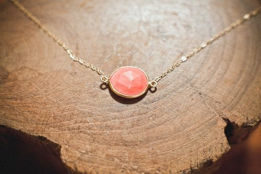 Custom Made Coral And Gold Bezel Neckalce