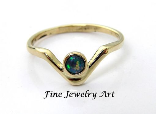 Custom Made Black Opal 14k V Ring - Natural Opal Chevron Ring Style