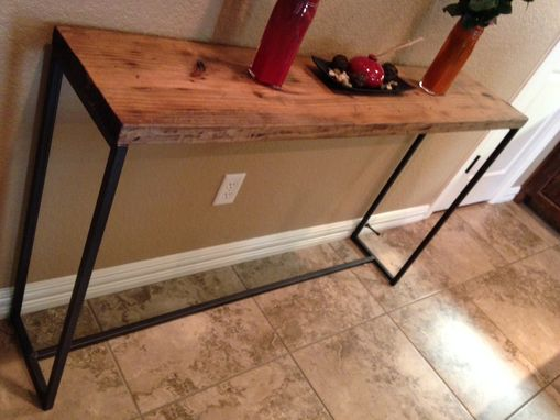 Custom Made Sofa Table. Rustic Wood With Metal Frame