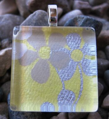 Custom Made Glass Pendant With Buttered Flowers Design On Silver Snake Chain Necklace