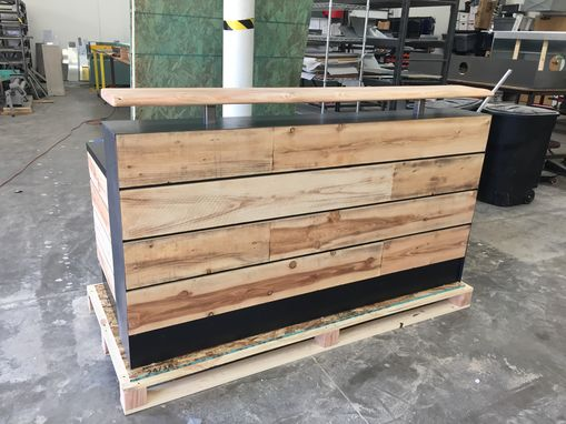 Custom Made #17 Pine Reclaimed Wood Reception Desk Or Reclaimed Wood Sales Desk