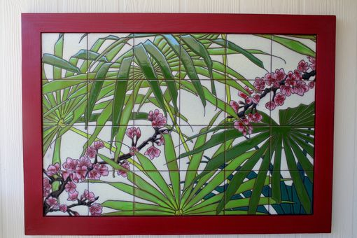 Custom Made Palmetto And Cherry Blossoms Framed Tile Mural