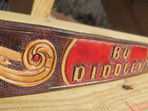Custom Made Personalized Hand Carved Leather Dog Collar