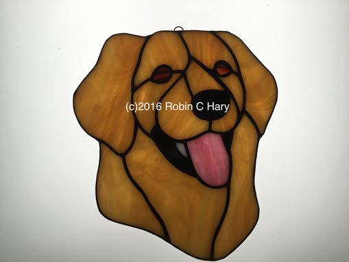 Custom Made Golden Retriever Stained Glass Sun Catcher