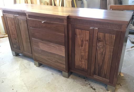 Custom Made Modern Dining Room Credenza Made From Walnut