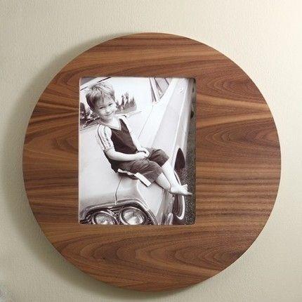 Handmade Round Mid Century Modern Picture Frame Wood Walnut