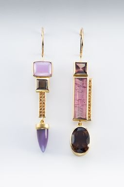 Custom Made 18 Carat Gold Asymmetrical Earrings With Lavender Chalcedony, Tourmaline, Smoky Quartz And Sapphire