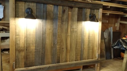 Hand Crafted Barnwood Headboard With Lights Reclaimed