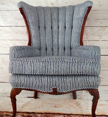 Custom Made Indigo And White Fanback Chair