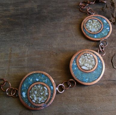 Custom Made Copper Bracelet With 3 Ivory And Turquoise Discs