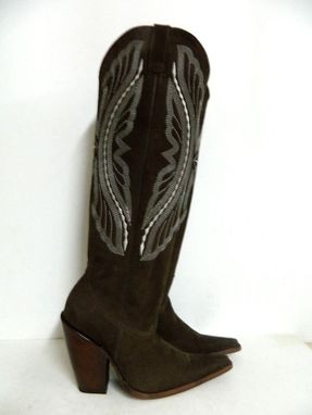 Custom Made Made To Order Nubuck Leather Cowboy Boots 22 Inch Tall Made To Order To Your Size