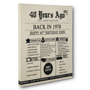 Custom Made 40th Birthday Newspaper Born In 1978 Stats Canvas Wall Art