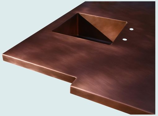 Custom Made Copper Countertop With 2 Sinks & Extended Edge