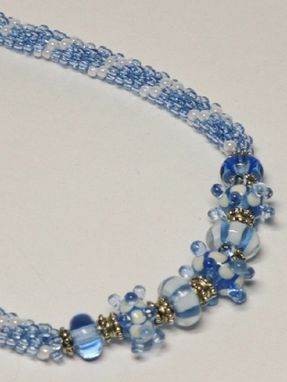 Custom Made Set - Light Blue And Pearl Kumihimo Necklace With Lampwork Beads And Matching Earrings