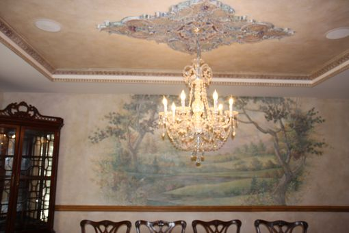Custom Made Dining Room Finishes, Murals Ceiling Crown And Molding Details