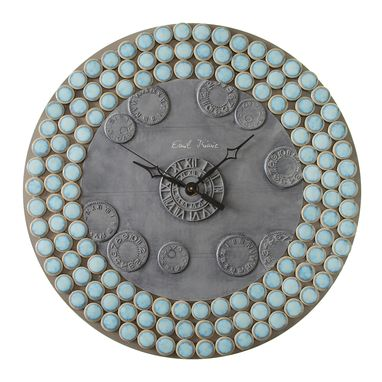 Custom Made Hudson Penny Round Marine Porcelain Mosaic Wall Clock, Metal, Large, Contemporary, Silent
