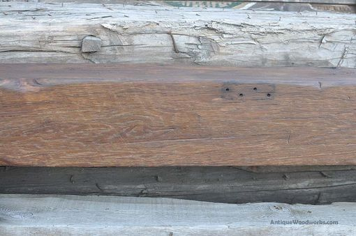 Custom Made Rustic Mantel Beam - Dark White Oak 8×8 With Lots Of Nail Holes