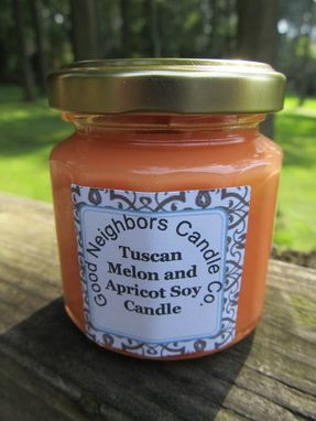 Custom Made Soy Candle, Tuscan Melon And Apricot, 4 Ounce 12 Sided Jar With Gold Lid, Peach