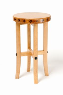 Custom Made Solid Maple Bar Stool With Burned Wood Detail